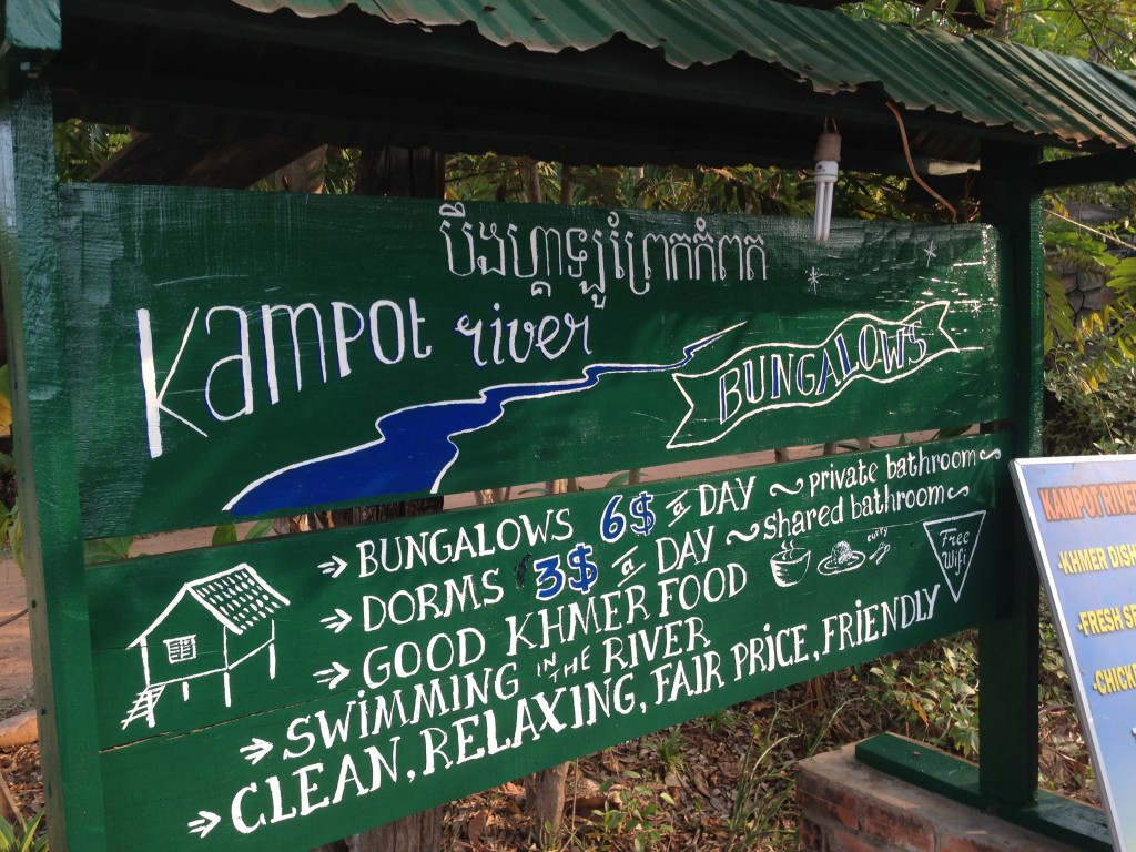Kampot River Bungalow sign