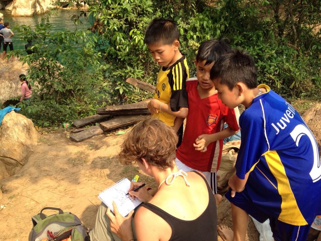 Laos -- kids watch me draw