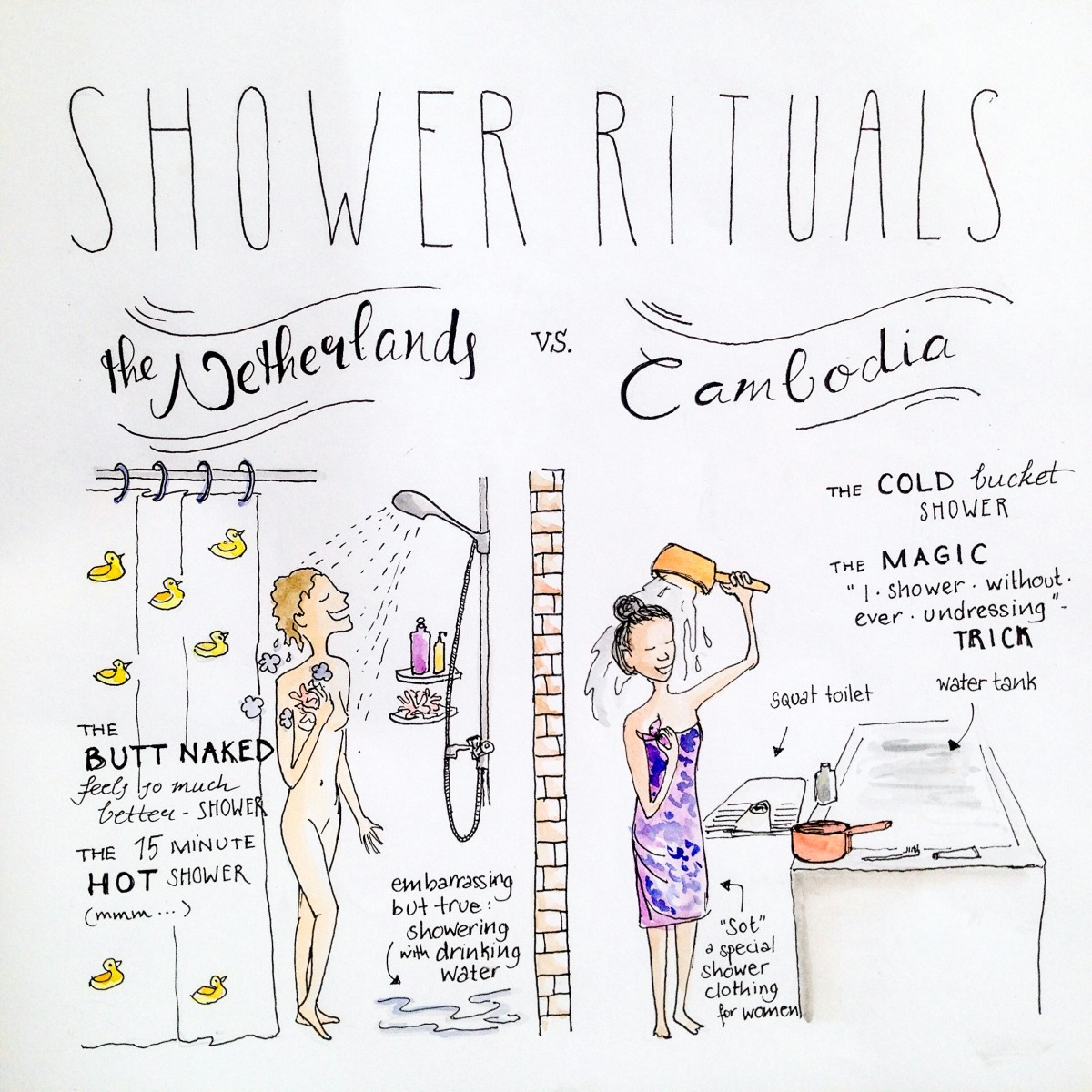Shower rituals in Cambodia