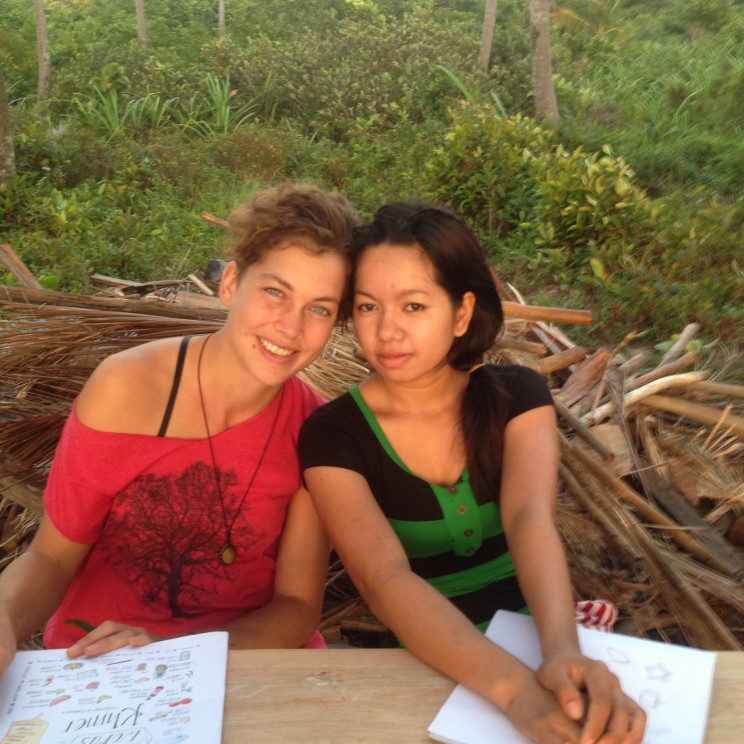 Kim-Yan and me as we practice our newly learned Khmer and English words