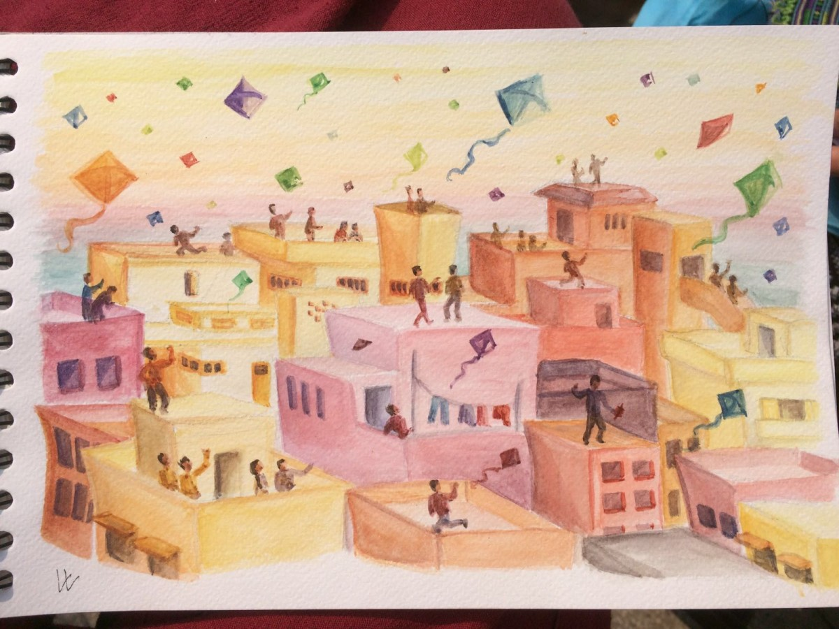 Kitefestival Gujarat India - watercolor
