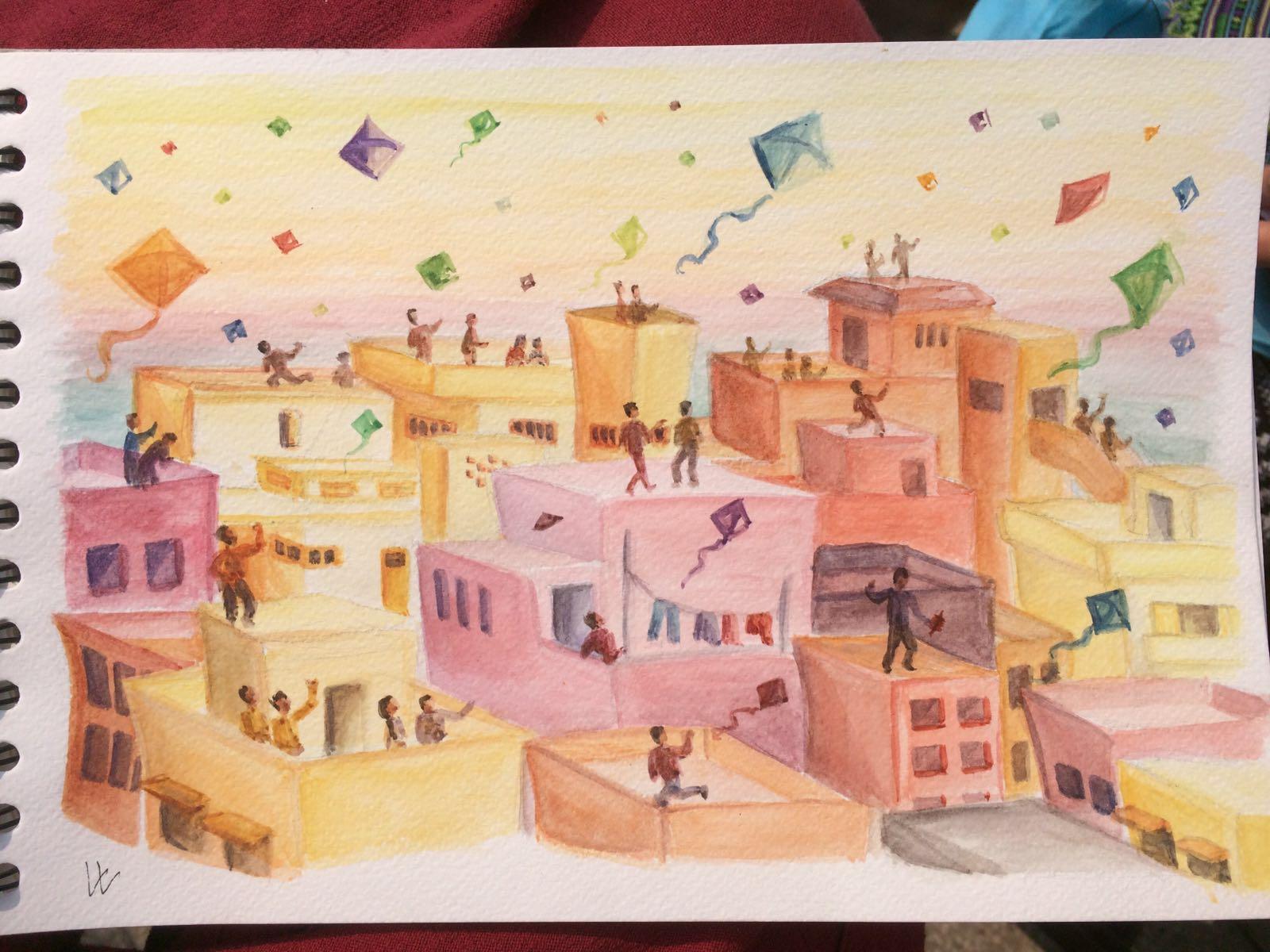 Kitefestival Gujarat India - watercolor