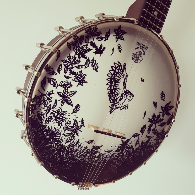 banjo artwork painting illustration tattoo guitar ink commissioned artwork lilian leahy dirtroadmusicband dirt road music band pascal oetiker john leahy bluegrass music banjo instrument customized