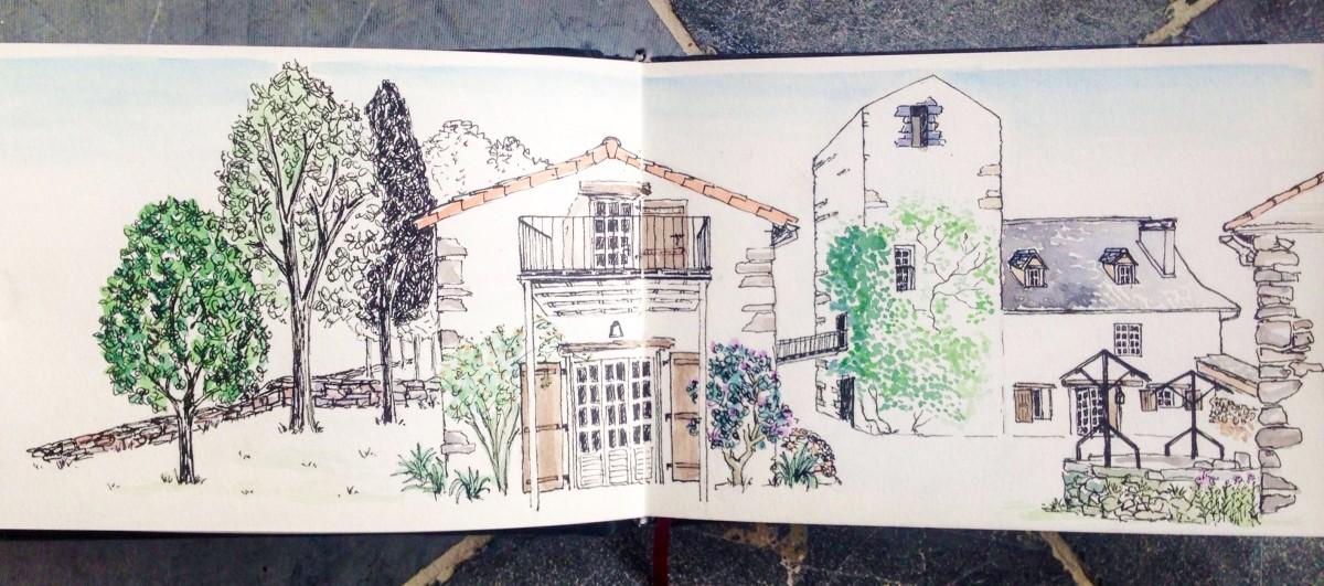 Illustrated Travel Blog illustrations medieval house watchtower France Auvergne