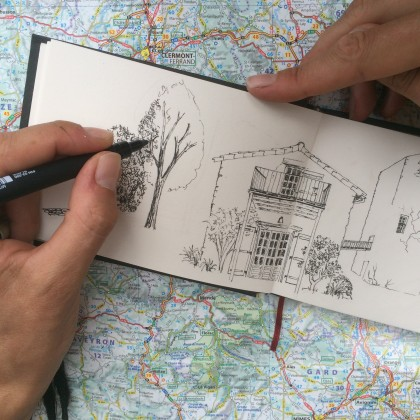 Illustrated travel blog france medieval watch tower sketch drawing