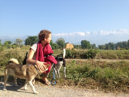 Walking the dogs in the local village, in the background the Himalayan mountains