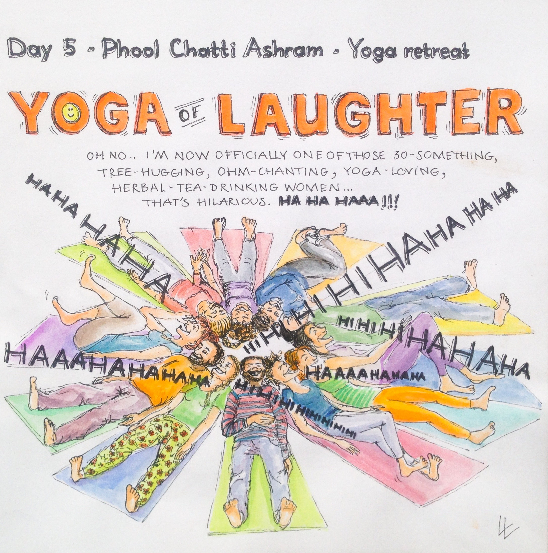 Laughing yoga Phool Chatti Ashram Yoga Meditation India Ganga River Rishikesh