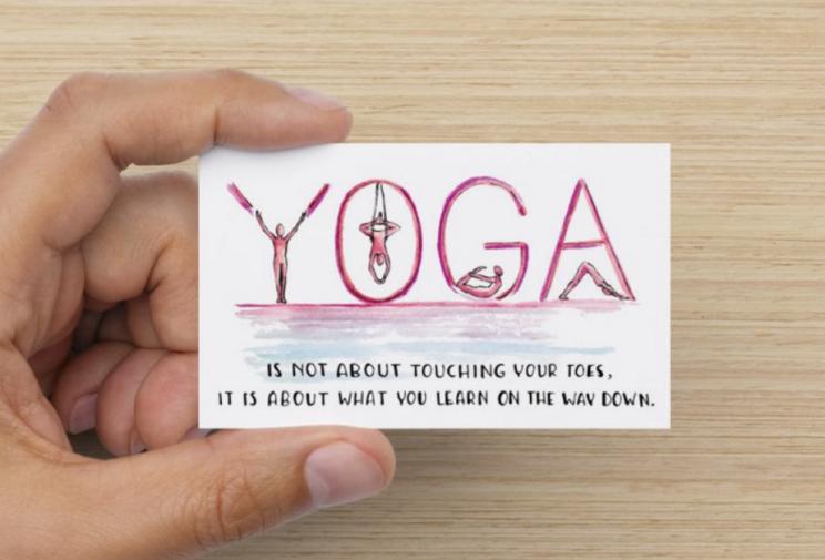illustrated business card design yoga teacher by Lilian Leahy