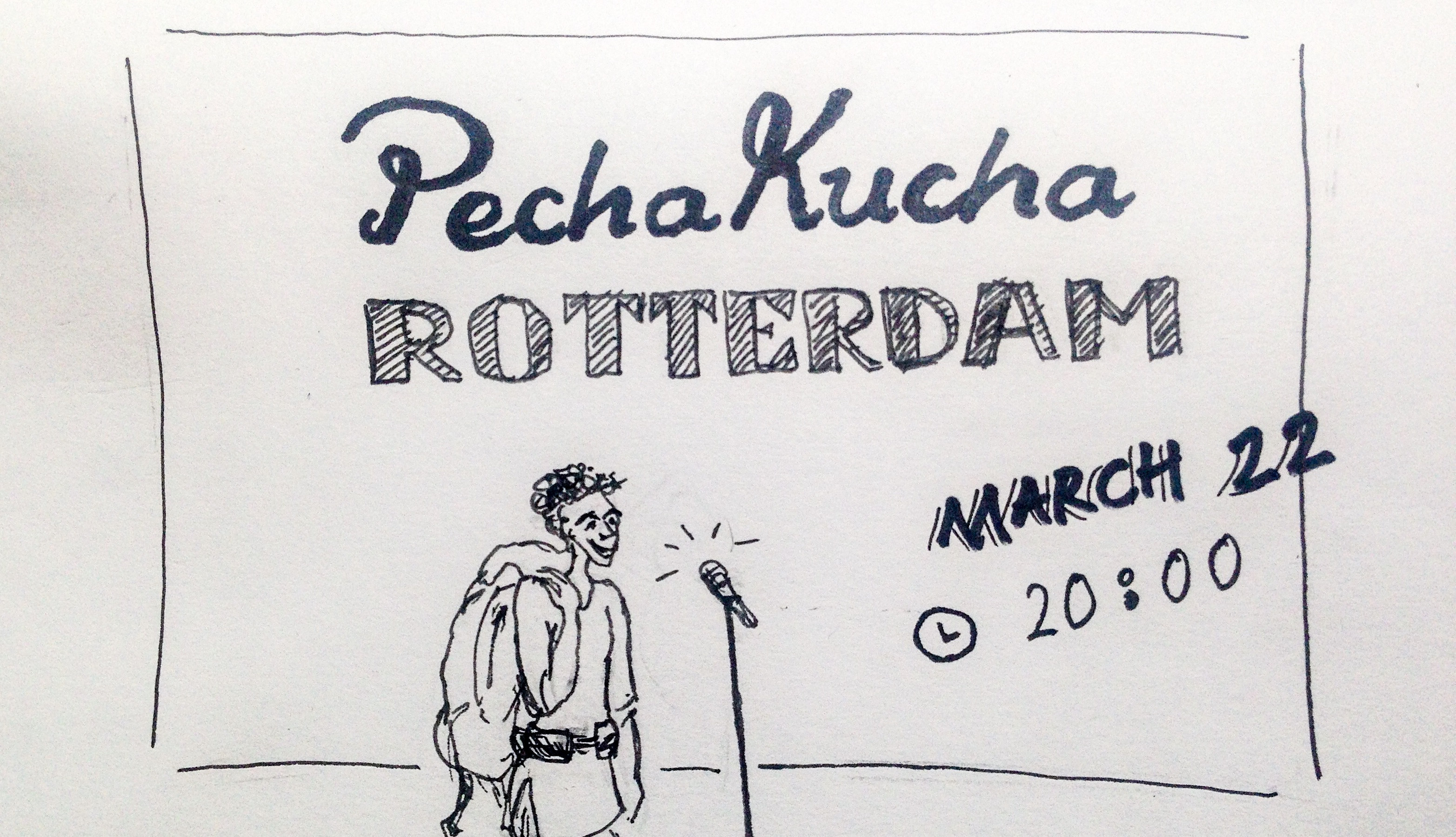 Pecha Kucha Rotterdam Netherlands Lilian Leahy inspirational speaker travel low bodget shoestring bartering trading exchange art skills illustrations sign painting march 22 2016 Arminius Museumpark