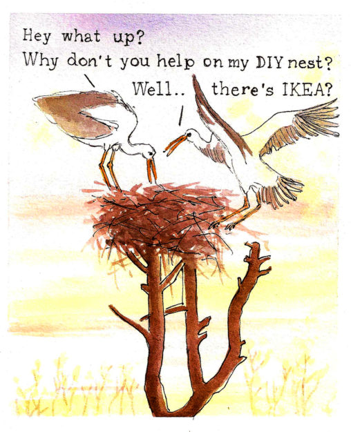 diy ikea stork nest two storks building funny postcard new house illustrations lilian leahy rotterdam ooievaars bouwen nest grappig klussen