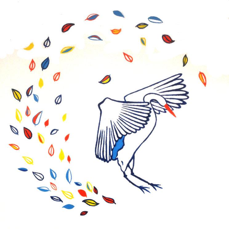 cranebird mural painting studio hillegersberg delft yoga dance dans lilian leahy illustrator muurschildering kraanvogel