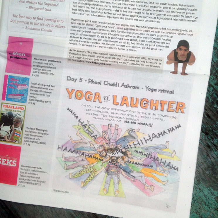 body mind yogakrant rotterdam ashram phool chatti india rishikesh laughter laughing yoga be the change you wish to see in the world quote illustration sketch drawing illustrator pencil handdrawn illustrate your world lilian leahy rotterdam amsterdam artwork fine art