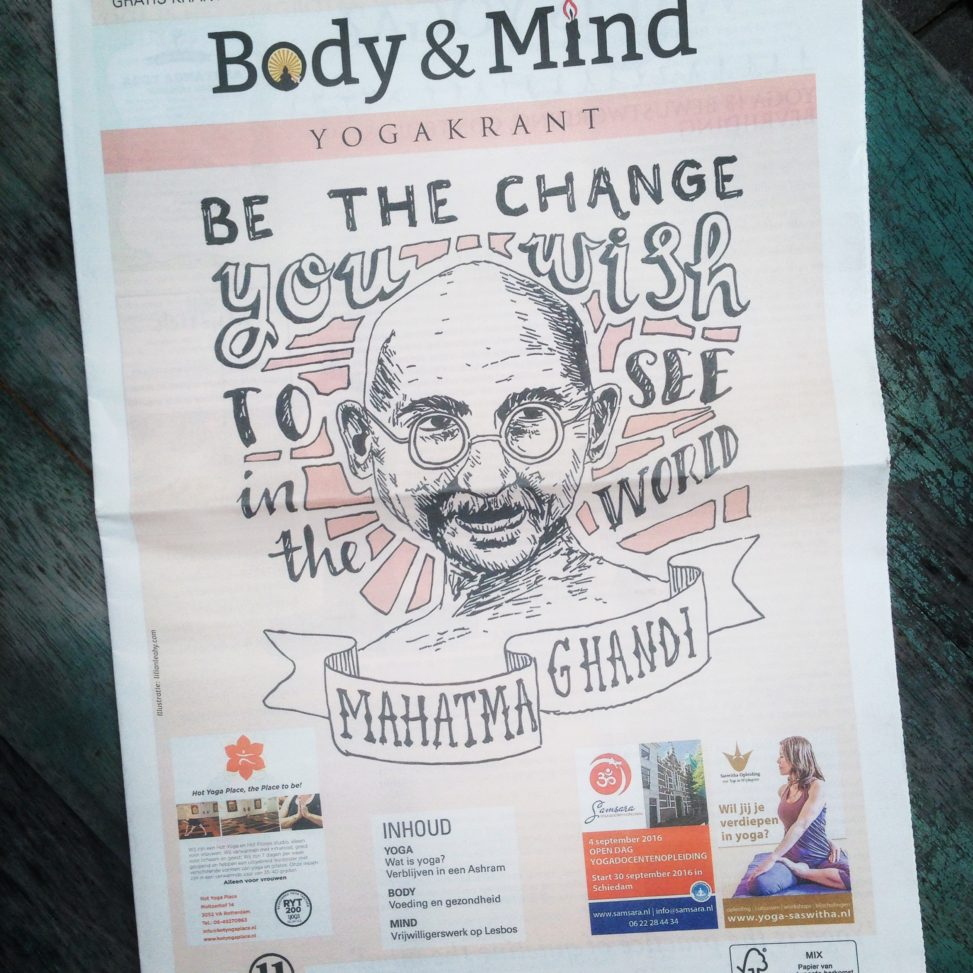 body mind yogakrant rotterdam ghandi yoga be the change you wish to see in the world quote illustration sketch drawing illustrator pencil handdrawn illustrate your world lilian leahy rotterdam amsterdam artwork fine art
