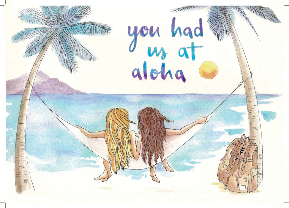you had us at aloha thank you card original illustrated design personalized creative special travel exotic beach hammock life palm trees beachlife beach hair netherlands rotterdam lilian leahy illustrator