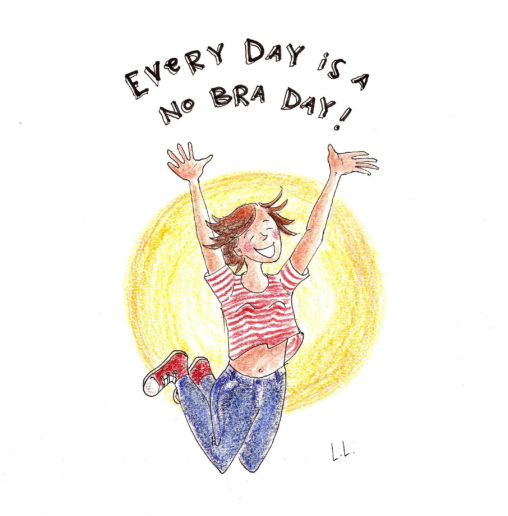 no bra day stop wearing a bra illustration drawing happy boobs free breast