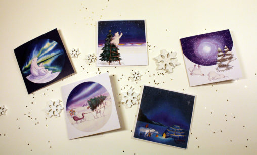 Etsy lilian leahy illustrations illustrator polar bears christmas cards hand drawn ink ecoline aquarel rotterdam