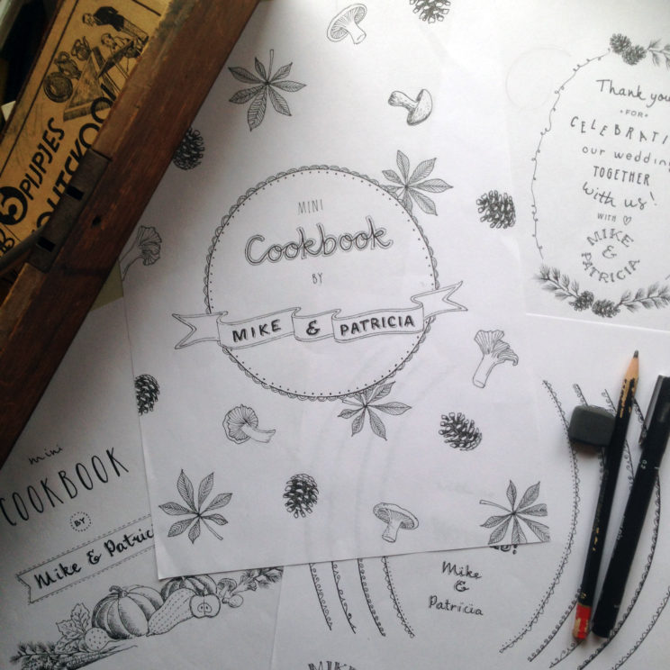 cookbook cover illustration work in progress