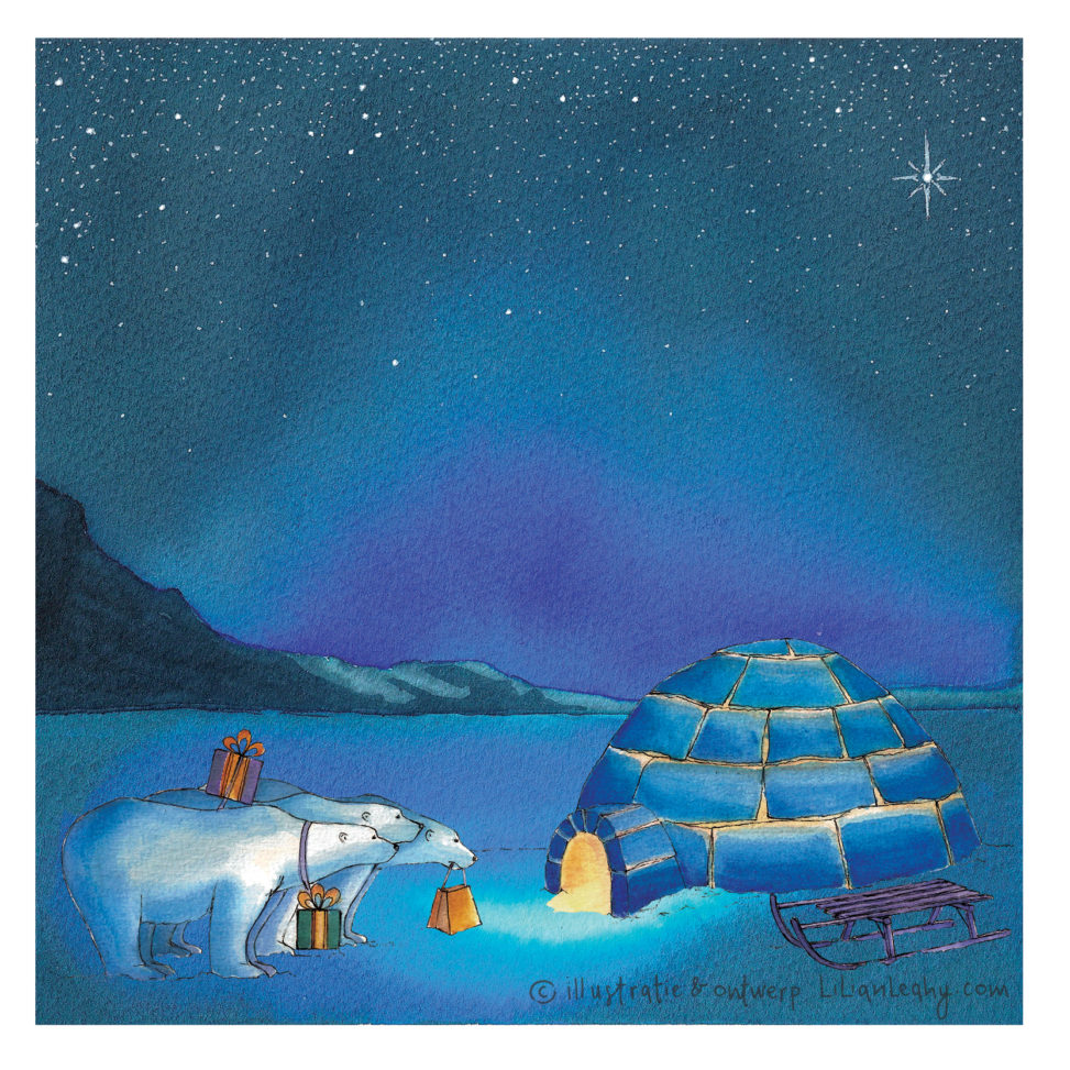 christmas cards illustrated original hand drawn lilian leahy polar bears northpole three kings netherlands ecoline