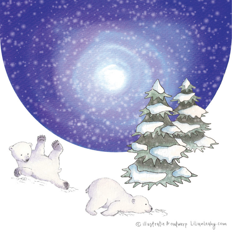 christmas cards illustrated original hand drawn lilian leahy polar bears northpole sliding snow playing netherlands ecoline