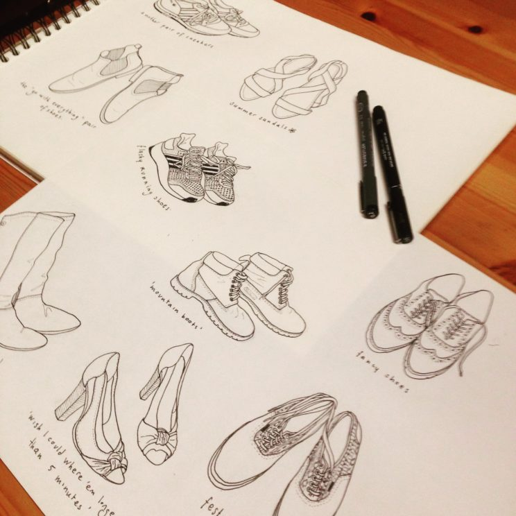 a drawing of my collection of shoes
