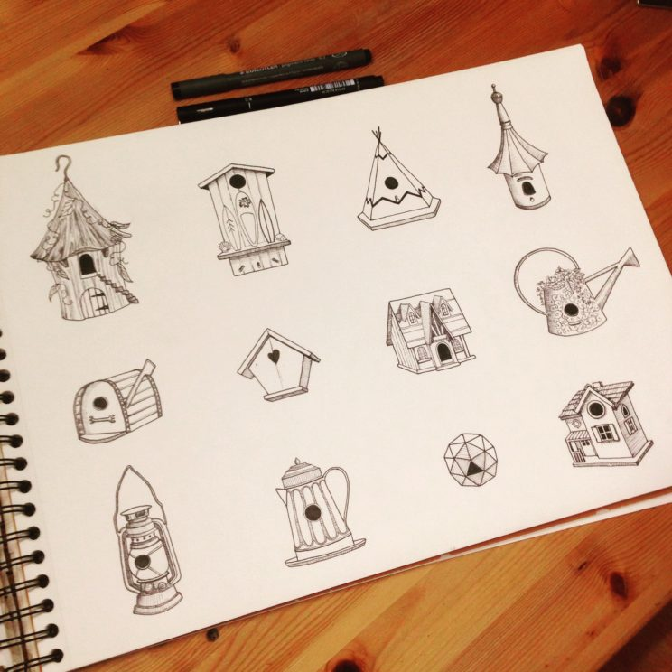a collection of bird houses