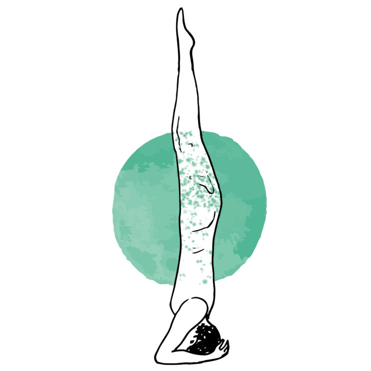 yoga krant illustraties kopstand - 3