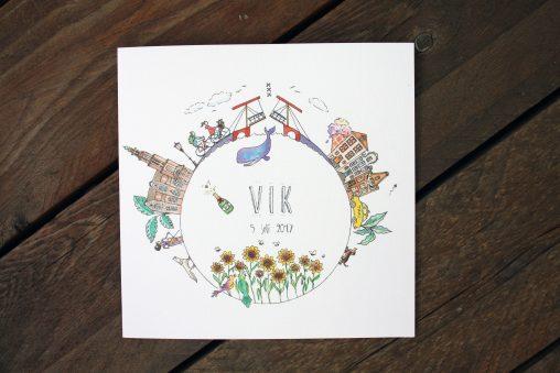 birth announcement, card, geboortekaartje original, creative, custom design, handdrawn, personal, special design, illustration, illustrator, lilian leahy, rotterdam