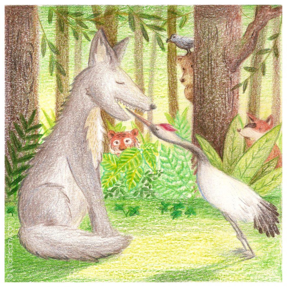 aesop wolf crane folktaleweek illustration illustrator childrensillustration bookillustration picturebookillustration
