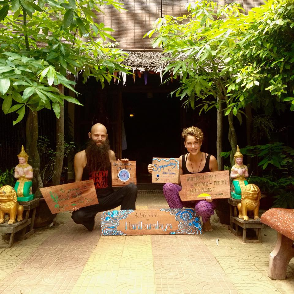 Hariharalaya yoga and meditation retreat center Cambodia Joel Altman Lilian Leahy signpainting