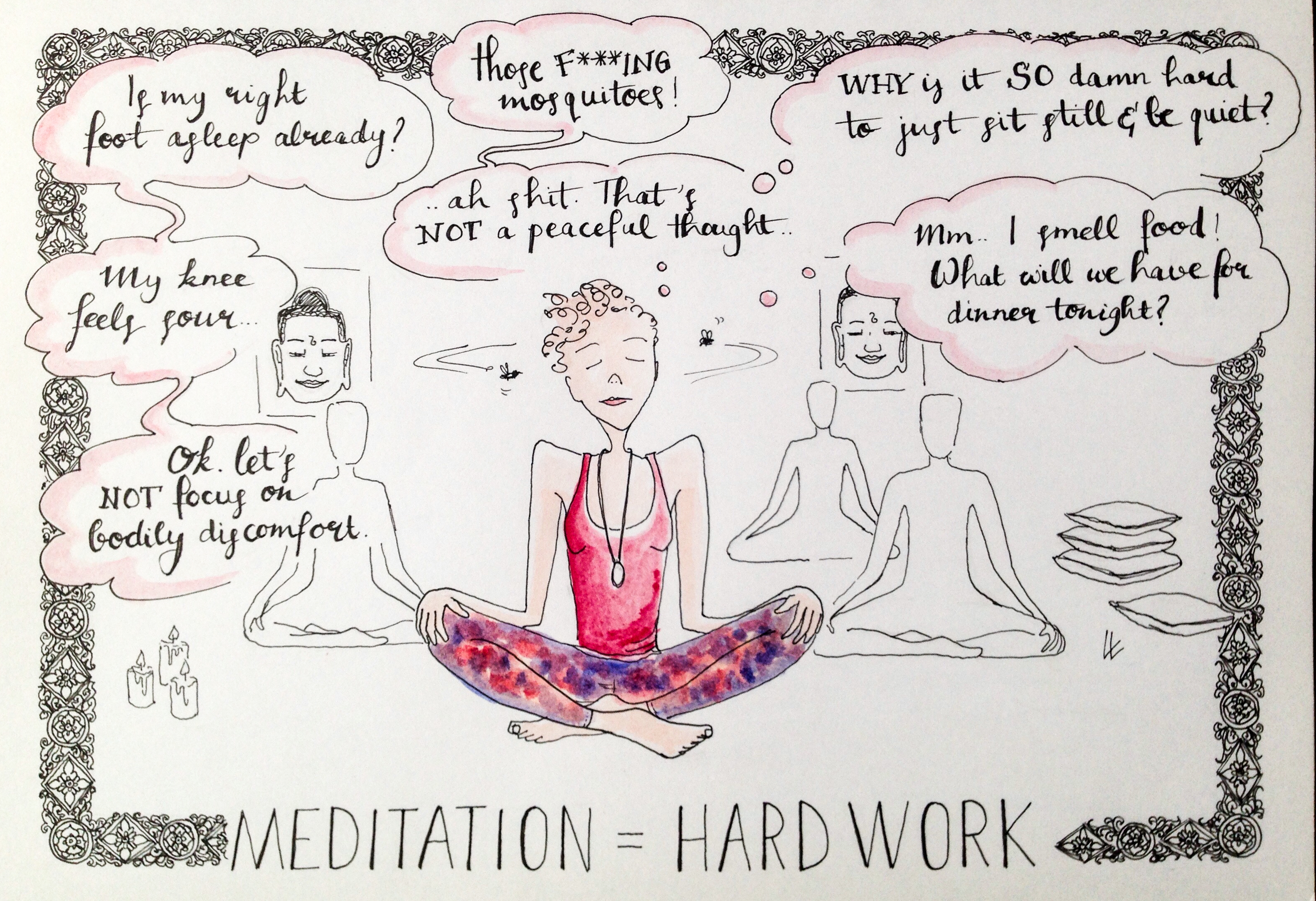 Meditation Yoga retreat Cambodia Hariharalaya ilustrated travel journal Siem Reap