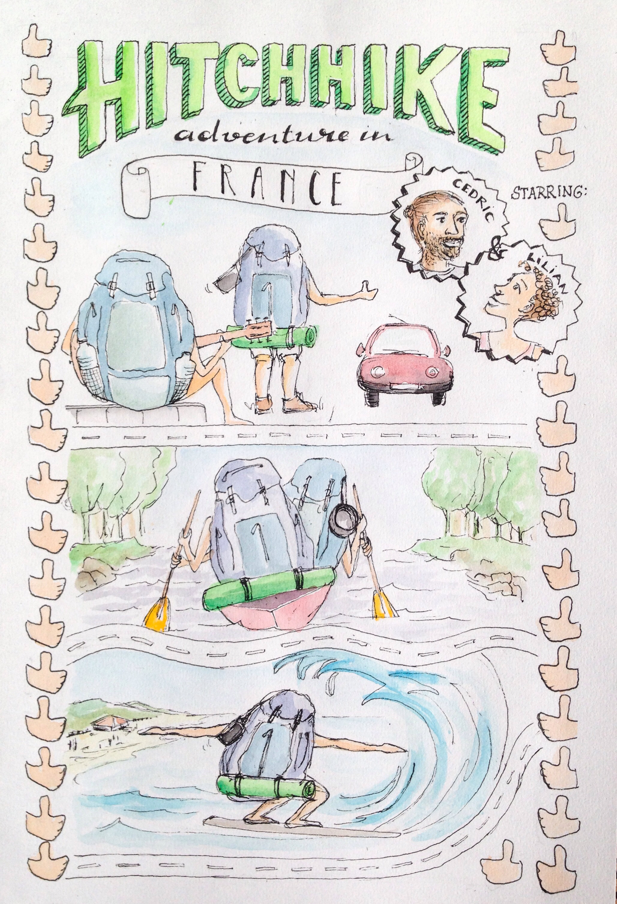 Illustrated travelblog travel illustration Hitchhiking through France