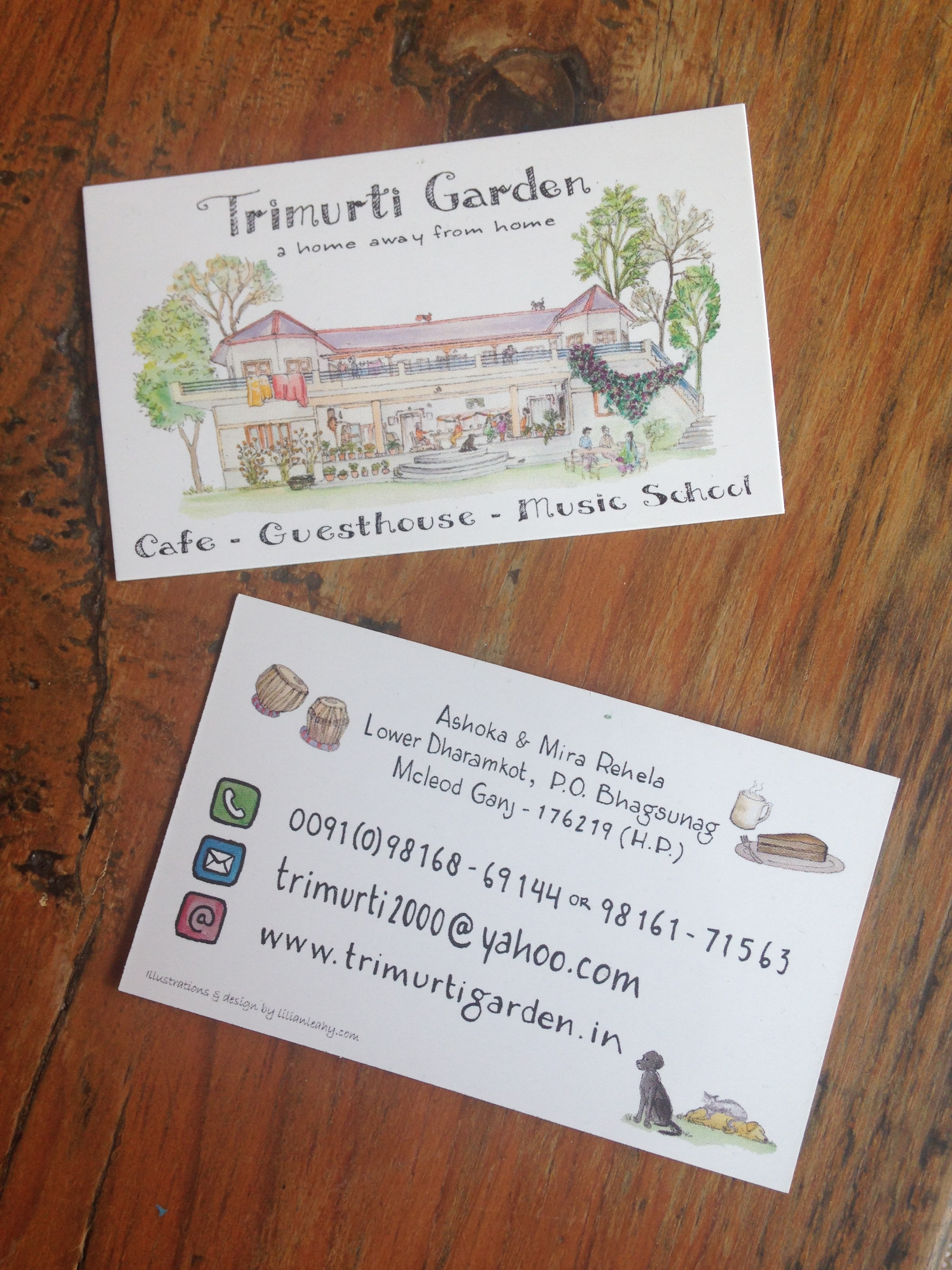 illustrated business card Trimurti Garden India Dharamkot Dharamsala Guesthouse