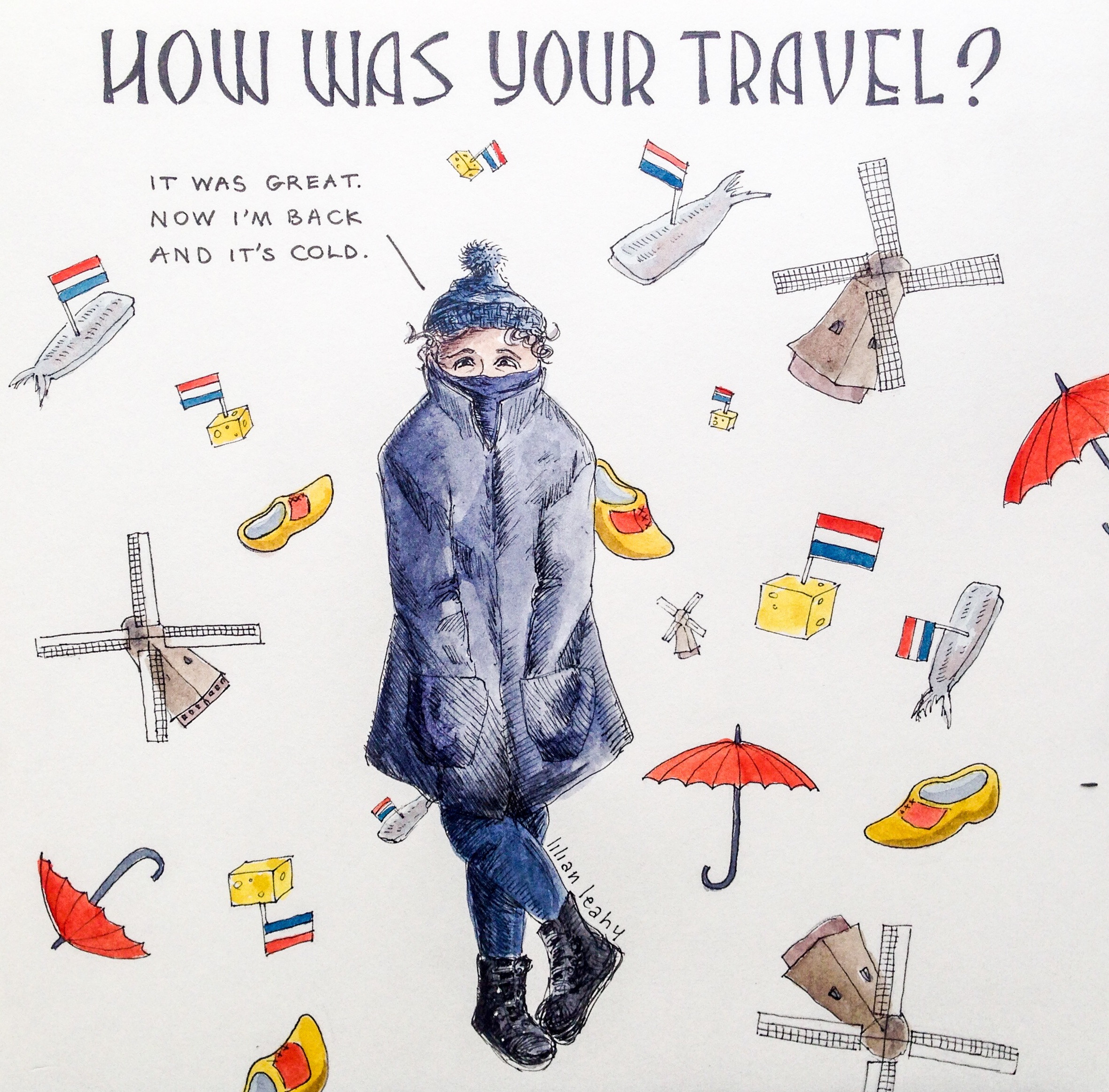 illustration lilian leahy traveling coming home cold dutch holland the netherlands how was your travel ink and watercolor illustrator Rotterdam