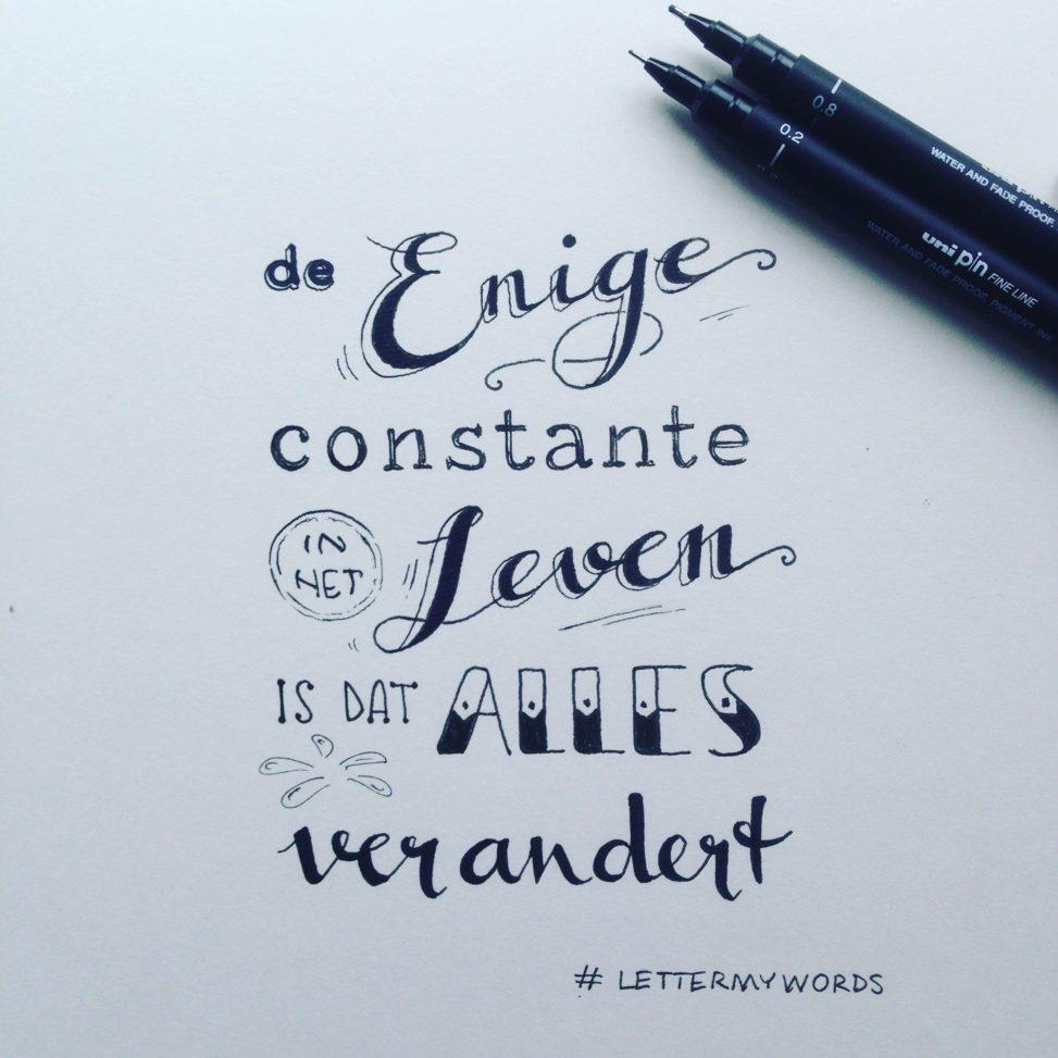 handlettering handlettered quote lilian leahy illustrator rotterdam #lettermywords typography handdrawn fonts De enige constante in het leven is dat alles verandert