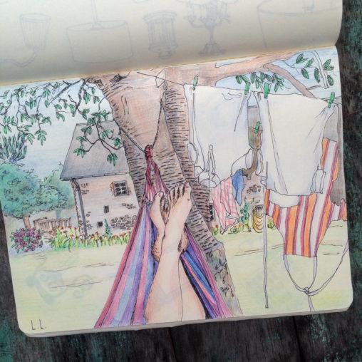 hammock life vacation holiday hammocking france illustration skecth drawing illustrator pencil handdrawn iillustrate your world lilian leahy rotterdam amsterdam artwork fine art
