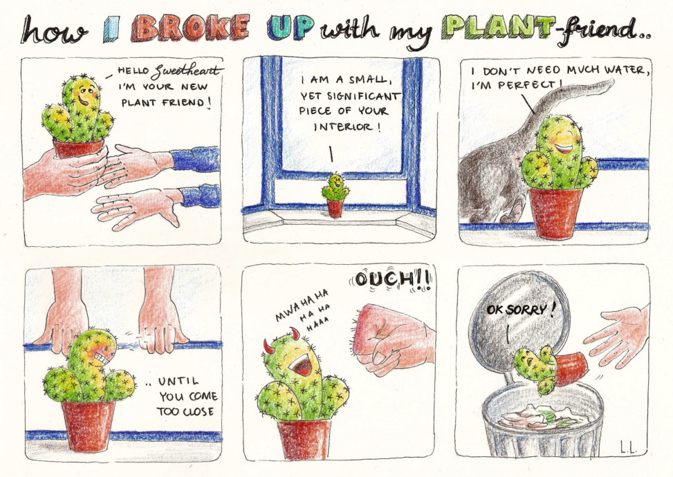 how i broke up with my plant friend cactus comic cartoon funny illustration illustrator pencil drawing plants stingy lilian leahy netherlands rotterdam
