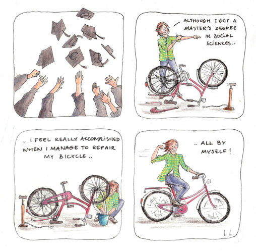 dutch girl power bicycle bicycles repair flat tire chain do it yourself diy self proud strong women illustrations lilian leahy rotterdam cartoon comic personal diary draw