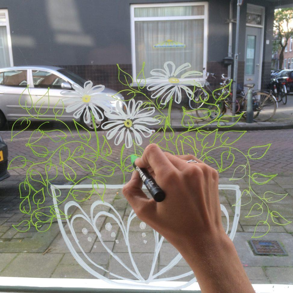 window drawing writing illustration art lilian leahy illustrations rotterdam netherlands chalkmarker windowmarker artwork glass etalage tekenen hand lettering