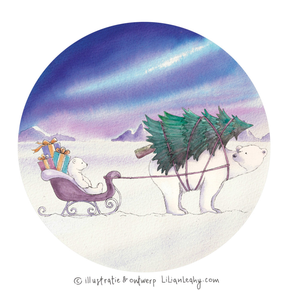 christmas cards illustrated original hand drawn lilian leahy polar bears northpole christmas tree sleigh gifts netherlands ecoline