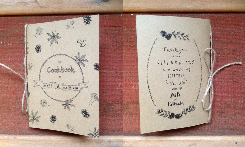 illustrated cookbook cover handmade wedding thank you gift original creative ink drawing illustration autumn lilian leahy illustrator rotterdam netherlands