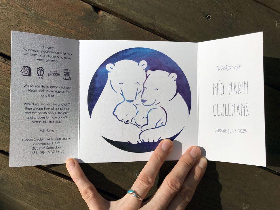 birth announcement, card, geboortekaartje, original, creative, custom design, handdrawn, personal, special design, illustration, illustrator, lilian leahy, rotterdam, polar bear, winter, ecoline, papercut, geboortekaartje