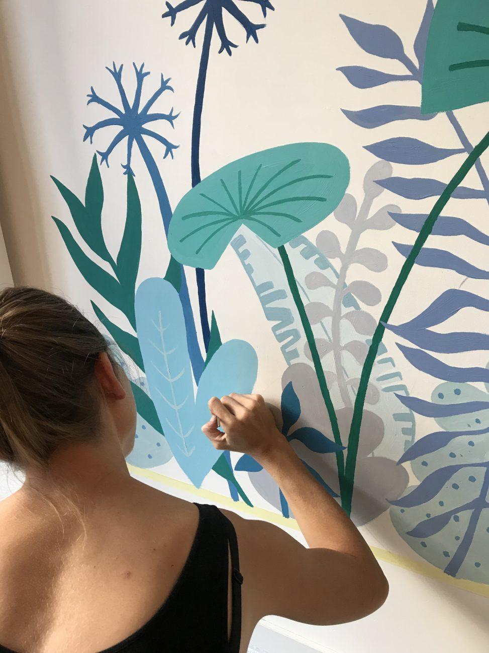 mural art botanical quote yoga studio balanzs rotterdam lilian leahy illustrations illustrator muurschidering muralist murals hand lettering