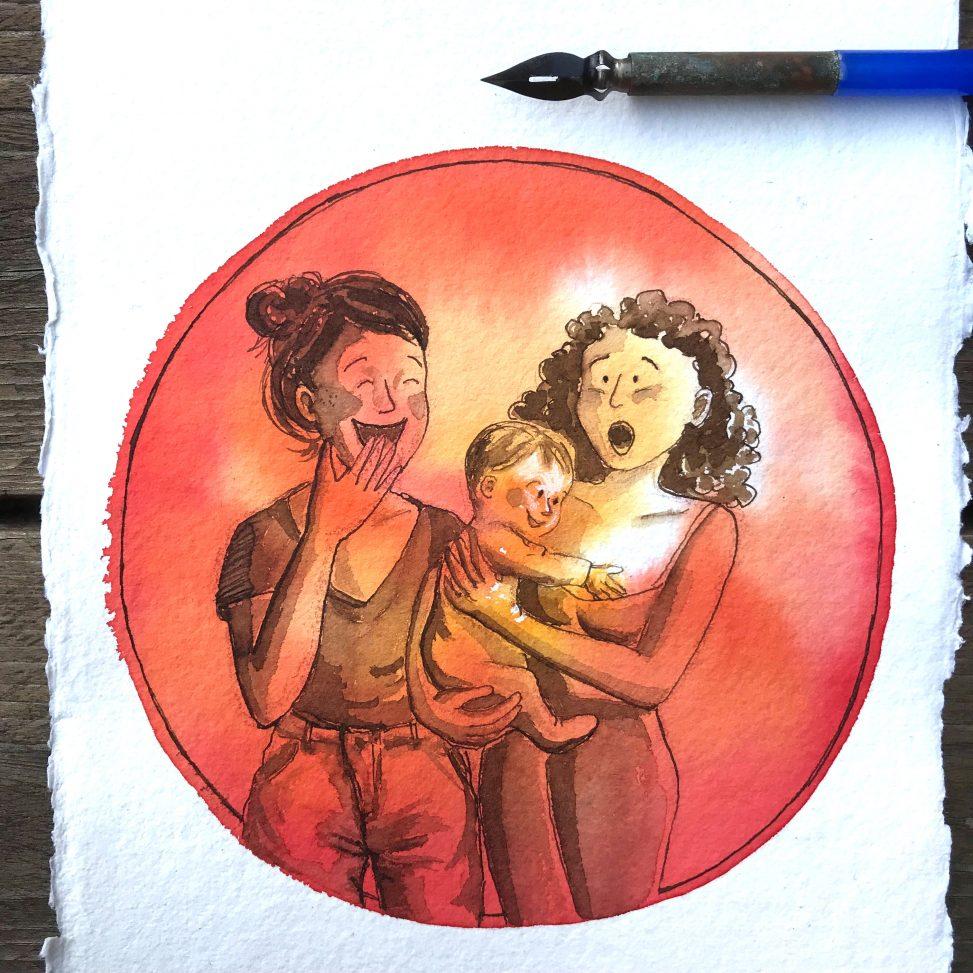 inktober 2018 ink ecoline drawing illustration motherhood comics funny lilian leahy rotterdam illustrator