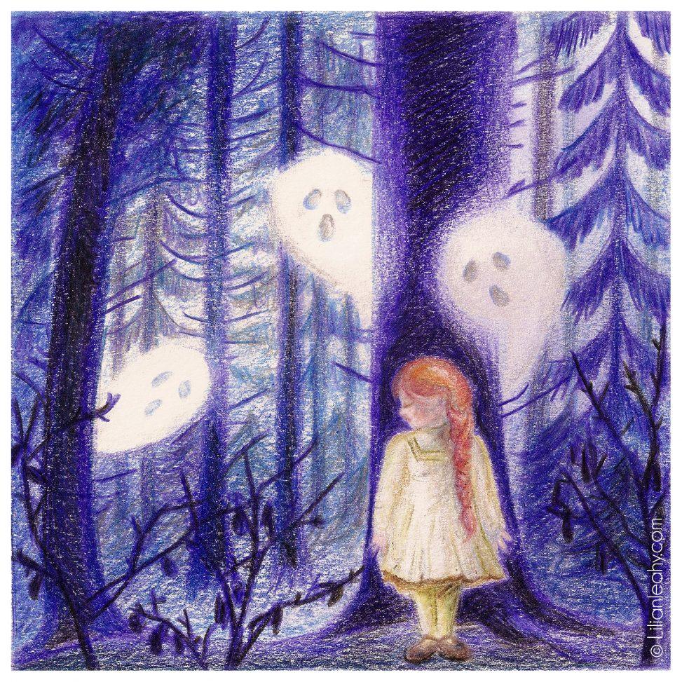 folktaleweek illustration illustrator childrensillustration bookillustration picturebookillustration ghost forest