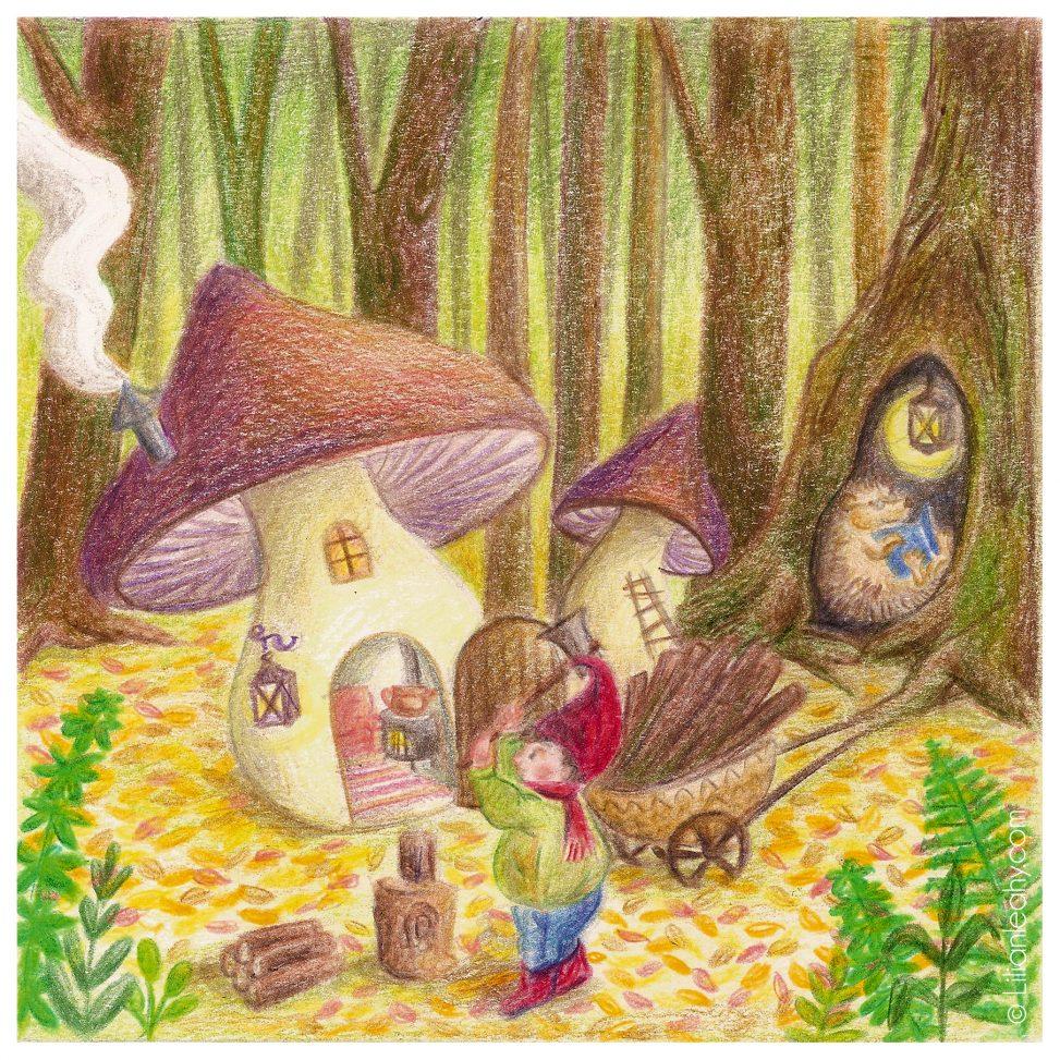 folktaleweek illustration illustrator childrensillustration bookillustration picturebookillustration gnomes forest waldorf waldorfinspired