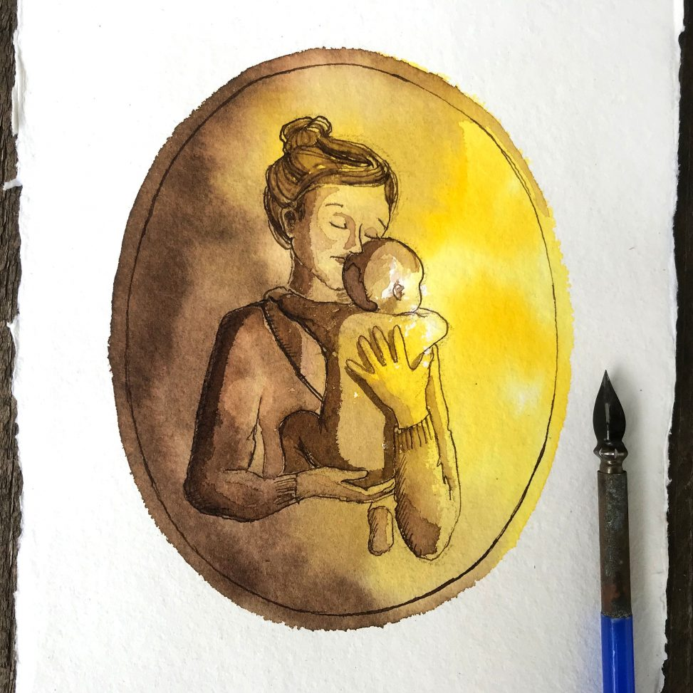 inktober 2018 ink ecoline drawing illustration motherhood comics funny lilian leahy rotterdam illustrator
