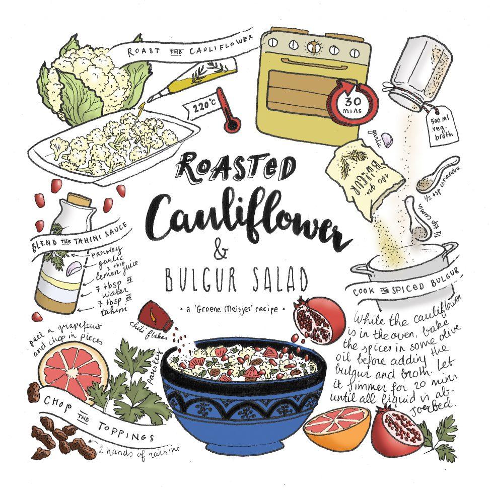 groene meisjes bloemkool bulgur salade illustrated recipe food illustrations lilian leahy
