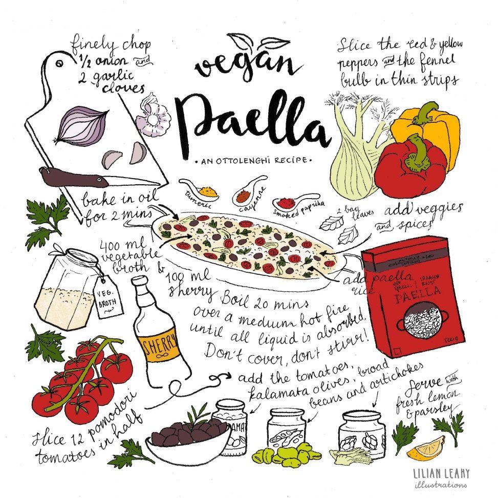 vegan vegetable paella ottolenghi illustrated recipe lilian leahy
