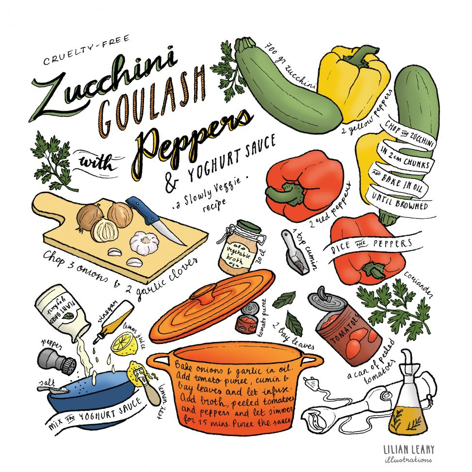 courgette goulash zucchini poivrons slowly veggie illustrated recipe vegan lilian leahy